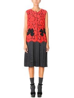 Marc Jacobs-Vestito Lace Dress in pizzo e seta rosso nero