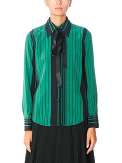 Marc Jacobs-Camicia Striped Button in seta verde e nera