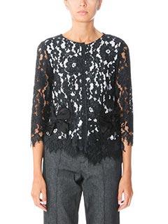 Marc Jacobs-Blusa Floral Lace top in seta e pizzo nero