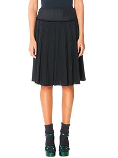 Marc Jacobs-Gonna A-Line Pleated in lana e cotone nero