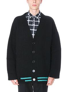 Raf Simons-Cardigan Stripe in lana nera