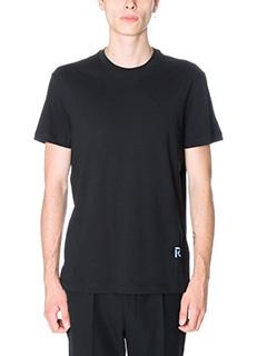 Raf Simons-T-Shirt Logo in cotone nero