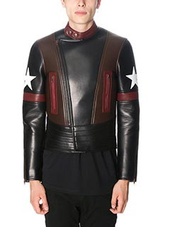 Givenchy-Giacca biker in pelle nera bordeaux