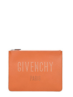 Givenchy-Pochette Logo Large in pelle cuoio