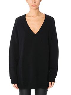 T by Alexander Wang-Maglia CashWool Jersey in lana nera