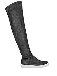 Grey Mer-Slip On High in tessuto glitter nero