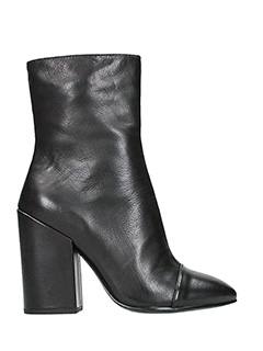 Ash-Flora black leather ankle boots