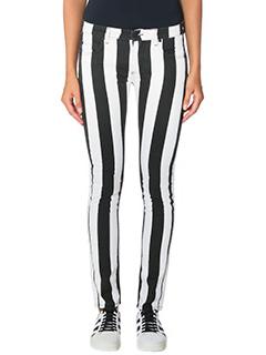 Off White-Jeans Skinny 5 in denim bicolor bianco e nero