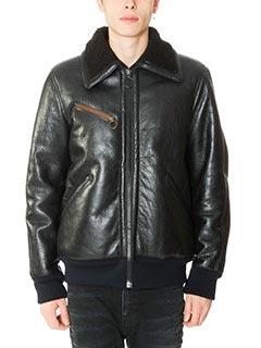 Golden Goose Deluxe Brand-Bomber Scottie Over in pelle e shearling nero