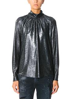 Golden Goose Deluxe Brand-Camicia Marian in tessuto lurex argento