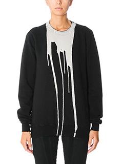 Rick Owens DRKSHDW-Felpa Vomit Sweatshirt in cotone nero