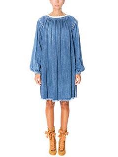 Chlo�-Vestito in denim azzurro