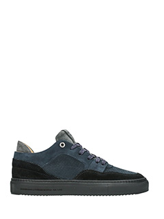 Android Homme-Sneakers Omega Low  in  camoscio blue nero