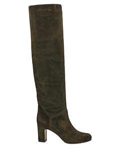 L'Autre Chose-Stivali cuissard in camoscio caff� tacco 8 cm