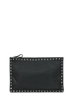 Valentino-Pochette Rockstud Media  in pelle nera