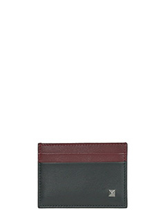 Valentino-Portacarte in pelle bordeaux verde