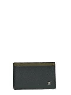 Valentino-Portacarte in pelle nera verde