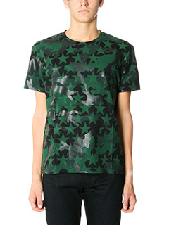 Valentino-T-Shirt Camustar in cotone verde e nero