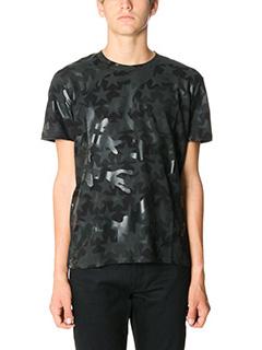 Valentino-T-Shirt Camustar in cotone nero