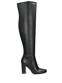 Michael Kors-Stivali Sabrina Booti in pelle nera-zip interna laterale