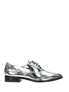 Schutz-Stringate in pelle specchiata argento