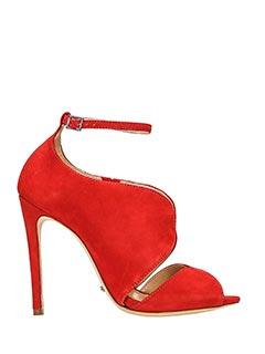 Schutz-Sandali in camoscio rosso