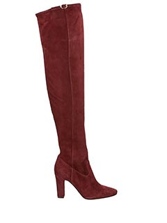 L'Autre Chose-Stivali cuissard in camoscio bordeaux-tacco 10 cm
