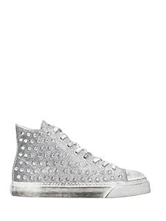 Gienchi-Sneakers alte Jean Michel in tessuto glitter argento