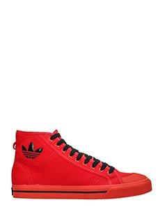 Adidas By Raf Simons-Sneakers Matrix Spirt Hi in camoscio e pelle rossa