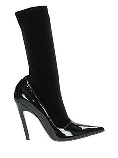 Balenciaga-Tronchetti Velvet Booties  in velluto e vernice nera
