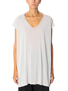 Rick Owens-T-Shirt  Floating T in cotone perla