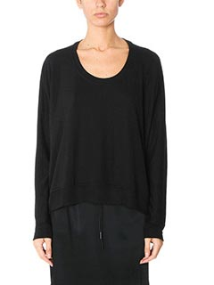 T by Alexander Wang-Maglia Dreapey Sweatshirt in lana nera