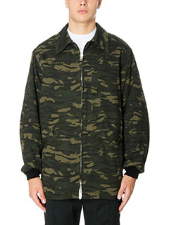 Alexander Wang-Giacca Collared Jacket in cotone camouflage verde