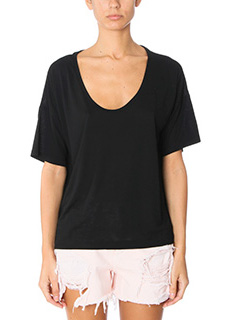T by Alexander Wang-T-Shirt Jersey Short Sleeve  in jersey nero