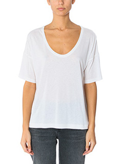 T by Alexander Wang-T-Shirt Jersey Short Sleeve  in jersey bianco