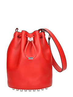 Alexander Wang-Alpha bucket red leather bag