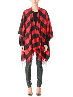 Balenciaga-Poncho Canadian in lana rossa e nera