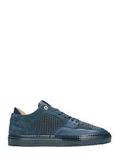 Android Homme-Sneakerts Omega in camoscio e pelle navy