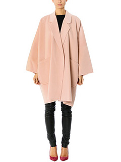Helmut Lang-Cappotto Cape Double in lana e cashmere rosa