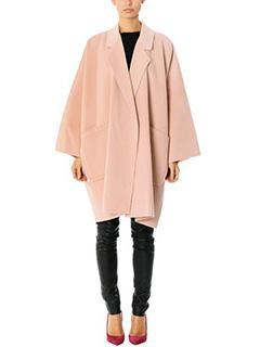 Helmut Lang-Cape doubleface pink wool outerwear