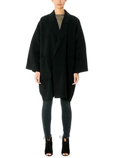 Helmut Lang-Cappotto Cape Double in lana e cashmere nero