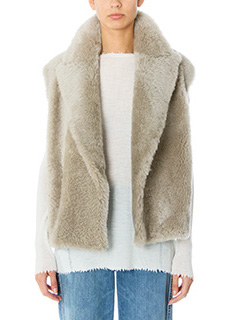 Helmut Lang-Gilet Cropped Fur in pelliccia taupe