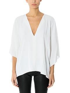 Helmut Lang-Blusa Silk Square in seta bianca
