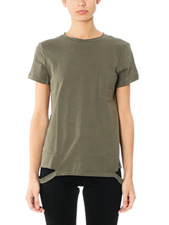 Helmut Lang-T-Shirt Slach Hem in cotone verde