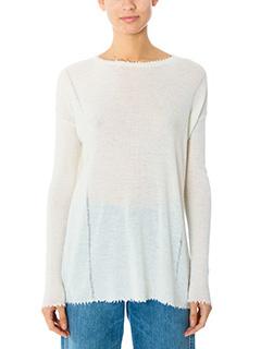Helmut Lang-Long fray fine white wool knitwear