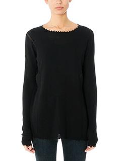 Helmut Lang-Long fray fine black wool knitwear