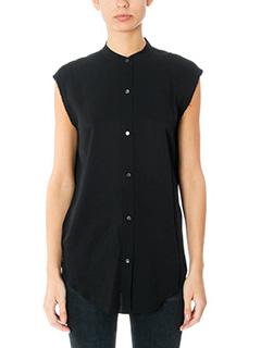 Helmut Lang-Back knot shirt black viscose shirt