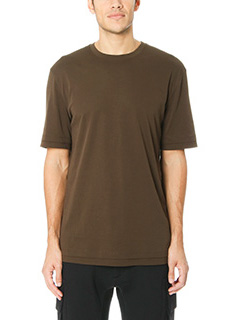 Helmut Lang-T-Shirt Double Layer in cotone verde militare
