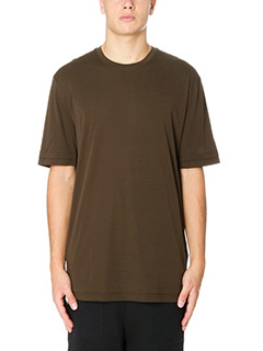 Helmut Lang-T-Shirt Double Layer  in cotone verde