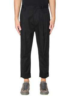 Helmut Lang-Pantaloni Front Cuff in cotone nero